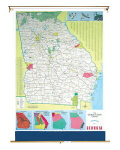 Nystrom Georgia Pull Down Roller Classroom Map 51 X 68 Inches
