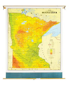 Nystrom Minnesota Pull Down Roller Classroom Map 51 X 68 Inches