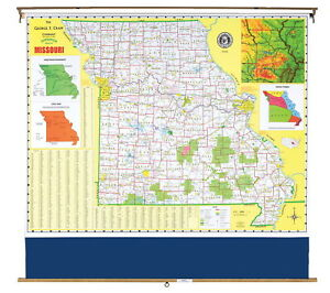 Nystrom Missouri Pull Down Roller Classroom Map 64 X 50 Inches