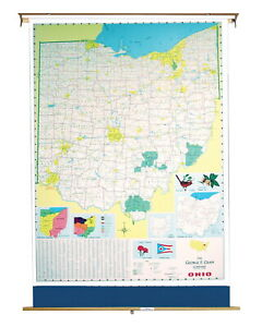 Nystrom Ohio Pull Down Roller Classroom Map 51 X 68 Inches