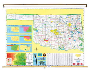 Nystrom Oklahoma Pull Down Roller Classroom Map 68 X 50 Inches