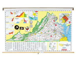 Nystrom Virginia Pull Down Roller Classroom Map 68 X 50 Inches