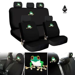 For Ford New Frog Embroidery Logo Car Seat Covers Headrest Full Set