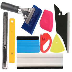 9 Pcs Pro Car Window Tint Wrapping Vinyl Tools Squeegee Scraper Applicator Kits
