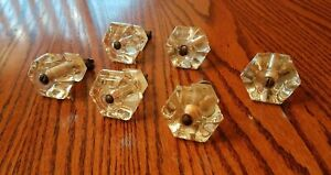Vntg Clear Glass Cabinet Door Knobs Handle Pull Lot Of 6 4 Excellent 2 Chipped