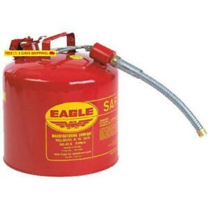 Eagle U2 51 s Red Galvanized Steel Type Ii Gas Safety Can With 7 8 Flex Spout
