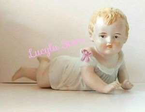Vintage Bisque Porcelain Piano Baby Figurine Crawling Girl 23 109 Stamped 9 5