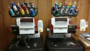 Two 1 Head Modular Melco Amaya 16 Color Industrial Embroidery Machines
