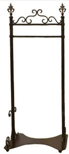 French Wrought Iron Rolling Clothing Rack Antique Dress Clothes Store Display