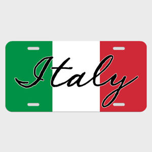 Italy Italian Flag License Plate Tag Metal Car Automobile Lst009