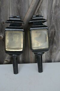 Vintage Pair Auto Buggy Lamps Headlights Headlamps
