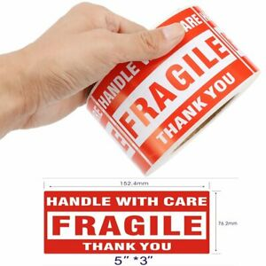 50 Roll Of 500 3x5 Fragile Sticker Handle With Care Thank You Shipping Label Ups