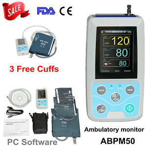 Abpm50 Ambulatory Blood Pressure Monitor Contec 24h Automatic Machine 3 Cuffs Us