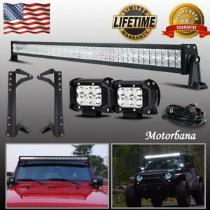 For Jeep Jk Wrangler 50 Inch Led Light Bar Windshield Mount Bracket 4 Pods 52