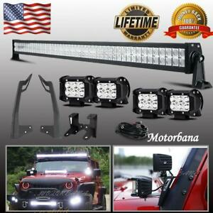52 In Led Light Bar Combo Pods Mount Bracket For Jeep Wrangler Jk Rubicon 50