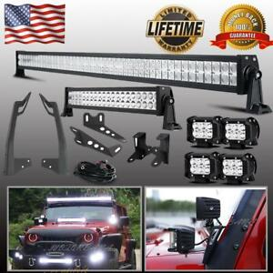52 22 Led Light Bar 4 144w Pods Brackets For 07 18 Jeep Wangler Jk 50inch
