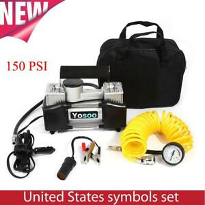 150psi Heavy Duty Double Cylinder Air Pump Compressor 12v Car Tire Tyre Inflator