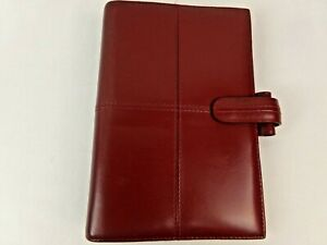 Filofax Personal Organizer Folio Real Leather Red Planner 6 ring Binder Vintage
