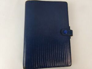 Filofax Tejus Personal Organizer Folio Calf Leather Blue Planner 6 ring Binder