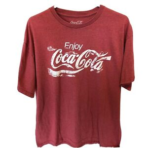 Enjoy Coca Cola T Shirt  XL  Red  Distressed Look  Good Condition  Graphic Tee