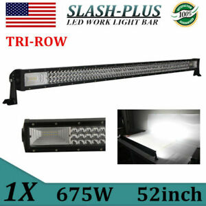 52 Inch 675w 7d Tri Row Curved Led Work Light Bar Combo Windshield Car Suv Boat