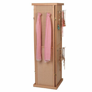 Pegboard Tower Display 4 Sided Spinner Top Base Hinged Rotating Peg Board 5 H