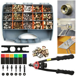 900pcs M3 m10 Riveter Gun Stainless Steel Rivet Nuts Insert Tools Mandrel Kit Us