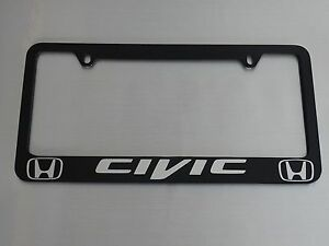 Honda Civic License Plate Frame Glossy Black Metal Brushed Aluminum Text