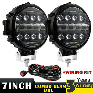 Pair 7inch Led Work Lights Offroad Bumper Fog Pods Round Tractor Atv Suv wire