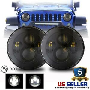 Black 2pcs Round 300w 7 Inch Led Headlight High Low Beam For Hummer H1 H2 H3 Suv