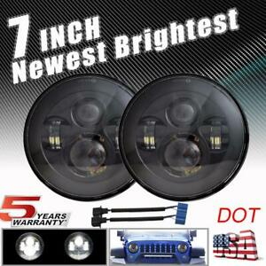 Black Round 7 Inch Led Headlight High Low For International Scout Ii Land Rover