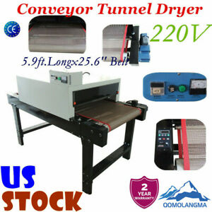 Us T shirt Conveyor Tunnel Dryer 5 9ft Longx25 6 Belt 220v For Screen Printing