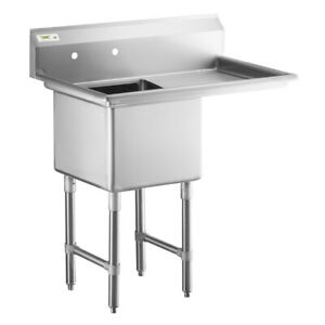 Regency 38 1 2 16 gauge Stainless Steel One Compartment Commercial Sink