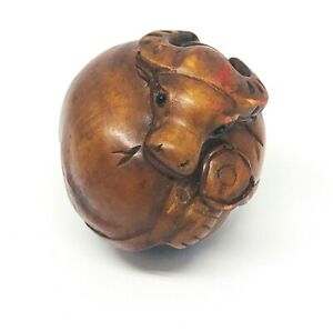 Asian Antique Netsuke Wood Carved Bull Ball Figurine Miniature Collectable Decor
