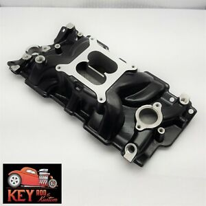 Small Block Chevy Black Aluminum Intake Manifold Dual Plane 350 400