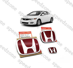 Jdm 3pcs Red H Front Rear Badge Emblem For Civic 2dr Coupe Si 2006 2011