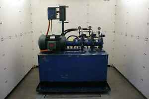 Twin Rexroth 20 Hp Hydraulic Power Unit Aa10vs045dfr 30r 3000 Psi 150 Gallons