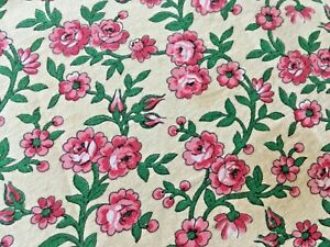 Antique Vintage French Floral Fabric Roses Small Scale Dolls Pink Red Roses