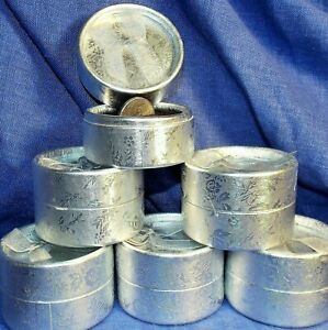 12x Ring Boxes round Silver Cardboard 1 Dozen w bow christmas Jewelry Usa Fast