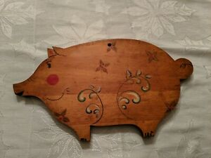 Vintage Antique Pig Cutting Board Tole Painted