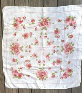 Vintage Beautiful Tablecloth Card Table 35 X 34 Ivory Coral Flowers Linen Table