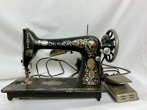 Antique Singer Sewing Machine Red Eye Treadle Red Head 66 Heavy Duty Ornate Gold