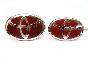 Glossy Red Front And Rear Grille Badge Emblem For Toyota For Many Models 2 Pcs