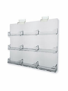 Slatwall Business Card Holder Organizer 9 Pocket Space Saver Clear Acrylic Qty 2