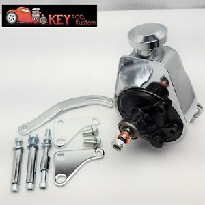 Sb Chevy Chrome Saginaw Power Steering Pump Bracket Kit Sbc 350 400 327 283
