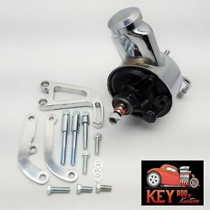 Sbc Chevy Chrome Early Saginaw Power Steering Pump Bracket Kit 350 400 327 283