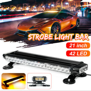 21 42 Led Amber Warning Strobe Flash Light Bar Emergency Light Traffic Advisor