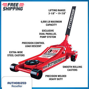 3 Ton Low Profile Floor Jack With Rapid Pump Lift Truck Service Vehicle Red 20