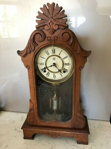 Antique Waterbury Oak Mantel Chiming Clock Excellent Condition Circa 1900