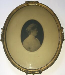 Antique Oval Picture Frame 9 X 11 Victorian Photo Gold Bronze Gilt Glass